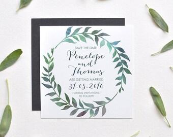 Save The Date Invitation - Watercolor Leaf Wreath - Wedding - Customizable Invite - Digital Printable template DIY - Rustic Boho Modern