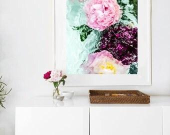 Peony Art, FRAMED Floral Art, Abstract Mint Art by Jessica Kenyon, Large Print, Mint Art, Pink Art, Large Art