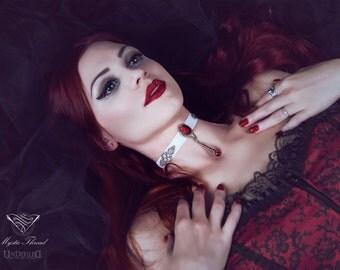 White velvet choker with ruby gem-gothic choker-victorian choker-velvet victorian choker-gothic velvet choker-white choker-ruby choker