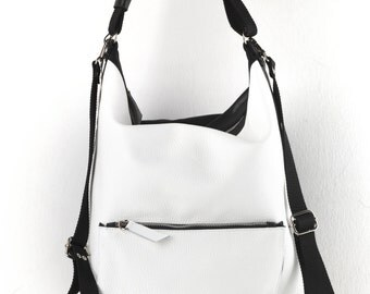 Leather Bag,Handmade Bag,White-Black Backpack,White-Black Shoulder Bag,Convertible Bag,Two-tone Bag,Everyday Bag,Women Bag