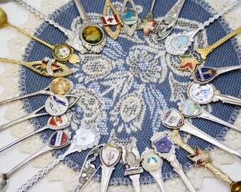 SALE Set of 25 Vintage Souvenir Spoons Lot, Silver Plated, Stainless Steel, Gold Souvenir Spoons, Vintage Travel Souvenir Wall Decor