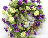Purple Wildflower Wreath, Summer Wreath, Spring Front Door Wreath, Country Wreaths, Summer Door Decor, Everyday Wreaths, Wreath for Doors