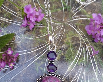 My Beauty~Large Amethyst Gemstone Pendant 925 Sterling Silver Chain Choker Necklace 14""