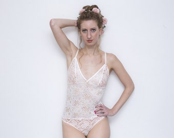 Sheer Lingerie Bodysuit   LUNA White and Peach Lace Bodysuit   Handmade To Order by Martha Lace