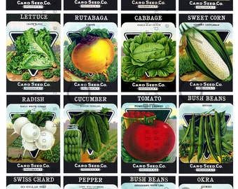 Awesome 16 Fab Vintage SEED PACKETS. Art Deco LABELS Vegetables Seeds Collage  Sheet. Seed Labels