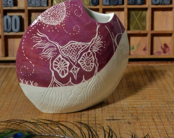 Ceramic Vase, Owl, Earthenware, Sgraffito, Underglaze, Low-fire, Handpainted and Carved, Purple