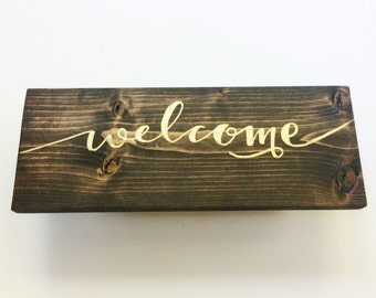 Welcome Wood Sign // for home and retail entrance or housewarming gift