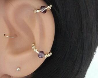 Amethyst  conch piercing, gold conch earring, silver conch ring,conch hoop,conch piercing jewelry,16-22 gauge, 12-16mm inner diameter