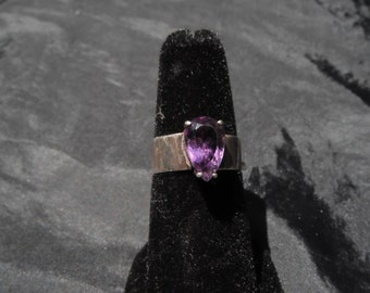 Sterling Silver Ring With Purple Glass/Stone