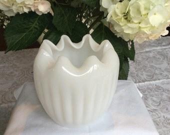 Fenton milk glass ribbed bowl, crimped edge