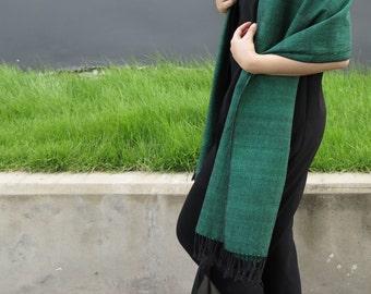 Elegant Green 100% Handwoven Cotton Scarf