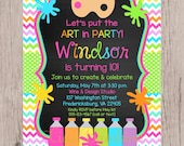 PRINTABLE Art Birthday Party Invitation / Painting, Pottery, Arts and Crafts Party / Chalkboard and Rainbow Chevron / 5x7 You Print - WG001