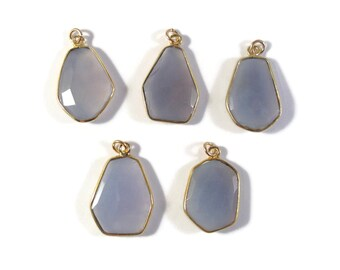 One Blue Chalcedony Charm, Light Blue Gemstone Pendant with Gold Plated Bezel, Charm for Making Jewelry (C-Ch3)