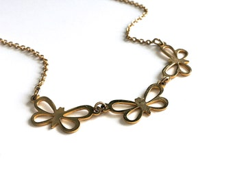 Sweet Vintage Gold Triple Butterfly Necklace
