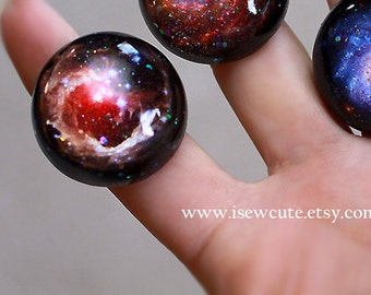 Galaxy Ring Star, V838 Monocerotis Red Giant, Large Galaxy Ring, Fashion Statement Glitter Hubble Image, Modern Resin Galaxy Jewelry