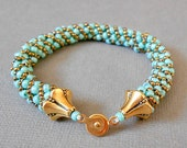 teal seed bead bracelet beaded bracelets bead jewelry gold bracelet boho jewelry SALE TODAY