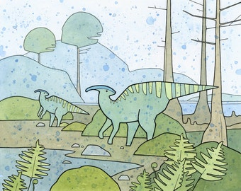 Duck-billed Dinosaur Art Print, Parasaurolophus, dinosaur wall art for kids, 8x10