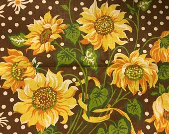 "SALE ITEM - 70s David and Dash Studios ""GLINKA"" Mod Van Gogh Style//Gold, Lemon, Ochre Sunflowers in a Field of White Dots, Choco Grnd//op"