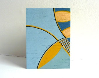 Small modern art painting, minimalist art on wood, original ACEO, Collectible Art Card Gift