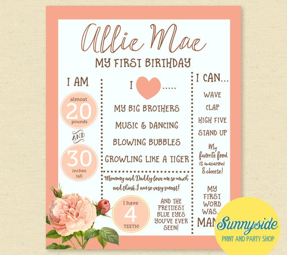 First Birthday Poster Printable With Flowers 16x20 1st