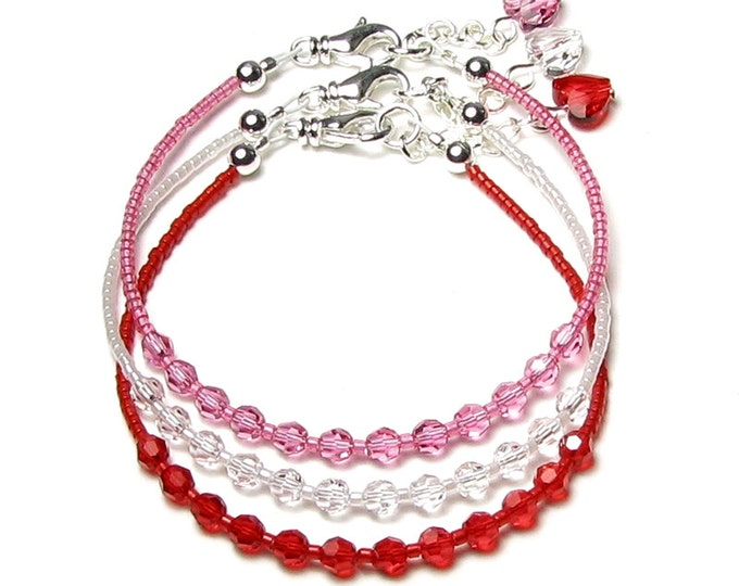 Swarovski Crystal Valentine's Day Silver Bracelet Set in Red Pink Clear With Romantic Heart Charm Gifts For Women Girlfriend Sister Daughter