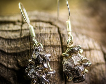 Meteorite, Meteorite Earrings, Meteorite Dangles, Sterling Silver Meteorite, Meterorite Jewelry, Meteorites,, Unique, Asteroid, Asteroids