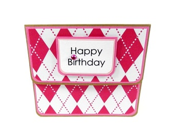Pink Argyle: Gift Card Holder, Gift Card Envelope, Gift Card Box, Money Holder