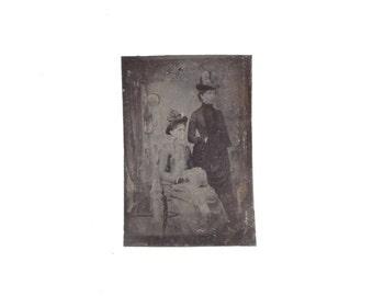 Vintage Tintype of Two Women, Antique Tintype Photograph