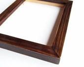 5x7 wood frame - dark walnut oil based stain, glossy finish, beautiful wood grain, solid wood construction