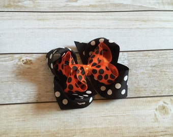 Orange and Black Polka Dot Halloween Boutique Style Hair Bow