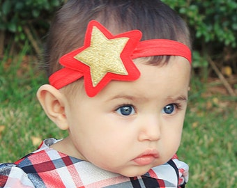 Wonder Woman Headband - Red and Gold Star Headband for Babies, Girls, Women - Wonder Woman Costume Star Headband