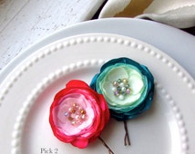 CHOOSE COLORS Set of 2 Silk Hair Flower Hair Pins, Ombre Wedding Satin Fabric Flower Hair Clip, Floral Hair Piece, Pink and Mint Turquoise