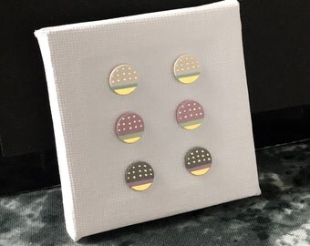 SALE / Porcelain dot stud earrings-choose a pair- pastel dotted geometric post earrings, geometric studs, gift for her