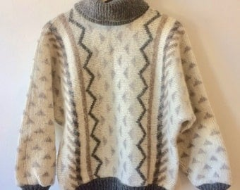Cowl Neck Alafoss IceWool Sweater Geometric Shapes Grey and White Womens Medium