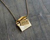 Envelope Locket Necklace with Message / Love Note Brass Working Locket Necklace • Gift for Her • Valentines Day Jewelry • Vintage Style
