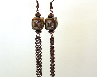 Boho Earrings: Long Dangle Earrings with Antique Copper Chain and Nickle-Free Earwires, Handmade in the USA, Tribal Earrings