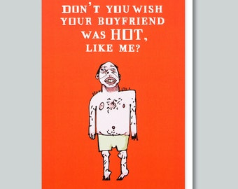 Funny Greeting Cards, Funny Valentine, For Her, Greeting Card, Inappropriate Card, Romantic, Anti-Valentine, Funny Card - HOT LIKE ME