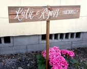 Personalized Wedding Directional Sign with Stake, Outdoor Weddings, Rustic Wooden Wedding Sign | 30x5.5