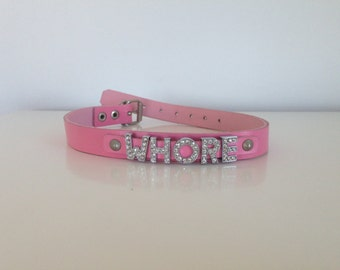 Pink leather whore collar
