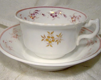 Sunderland Pink Lustre Cup and Saucer 1850