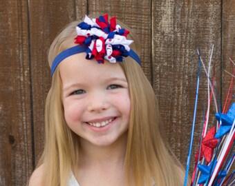 Fourth of July Headband, 4th of July Headband, Baby Headband, Korker Headband, 4th of July Hair Bow, Newborn Headband, Red White and Blue