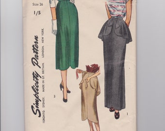 Vintage 1940s Sewing Pattern, Simplicity 2223, Circa 1947, Vintage Size 26, Women's Daytime and Evening Skirt with Detachable Peplum, Cut