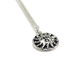 Sun Necklace Sterling Silver Plated Chain