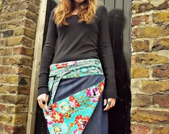 SALE-Free Size Reversible Cotton Knee Length Wrap Skirt in Denim and  Flower Blue Print