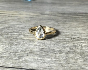 Sapphire Pear Ring, 14K Gold, Ready to Ship, Size 5.25