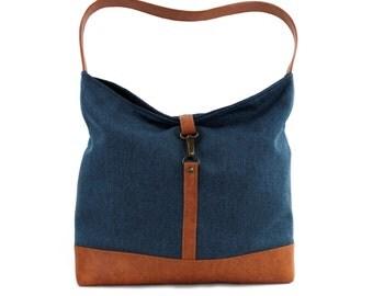 Blue Hobo Bag, Vegan Handbag, Slouchy Tote Bag, Blue Shoulder Bag, Vegan Tote Bag, Blue Brown Bag,Shoulder Hobo Bag,Vegan Leather Hobo Purse