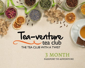 Tea of the month club, monthly box tea gifts, organic tea subscription box, mens gift, gift for her, Christmas gift idea, fun gifts