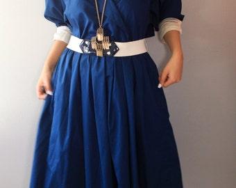 Sale!!! Sale!!!!Navy Blue Summer Dress/ Cotton Dress/Blue Cotton Dress/ Midi Dress/ Holiday Dress