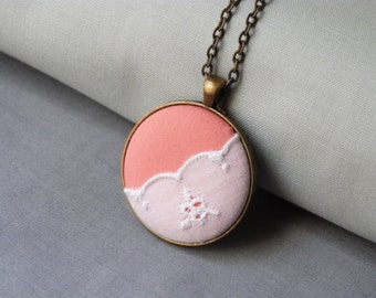 Blush pink fabric necklace | pink and white lace pendant | bridesmaid jewelry gifts | one of a kind pink necklace | zero waste | for her