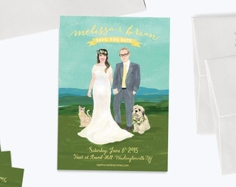 """Custom Illustrated Save the Date A7 Size (5x7"""") - Digital Download"""